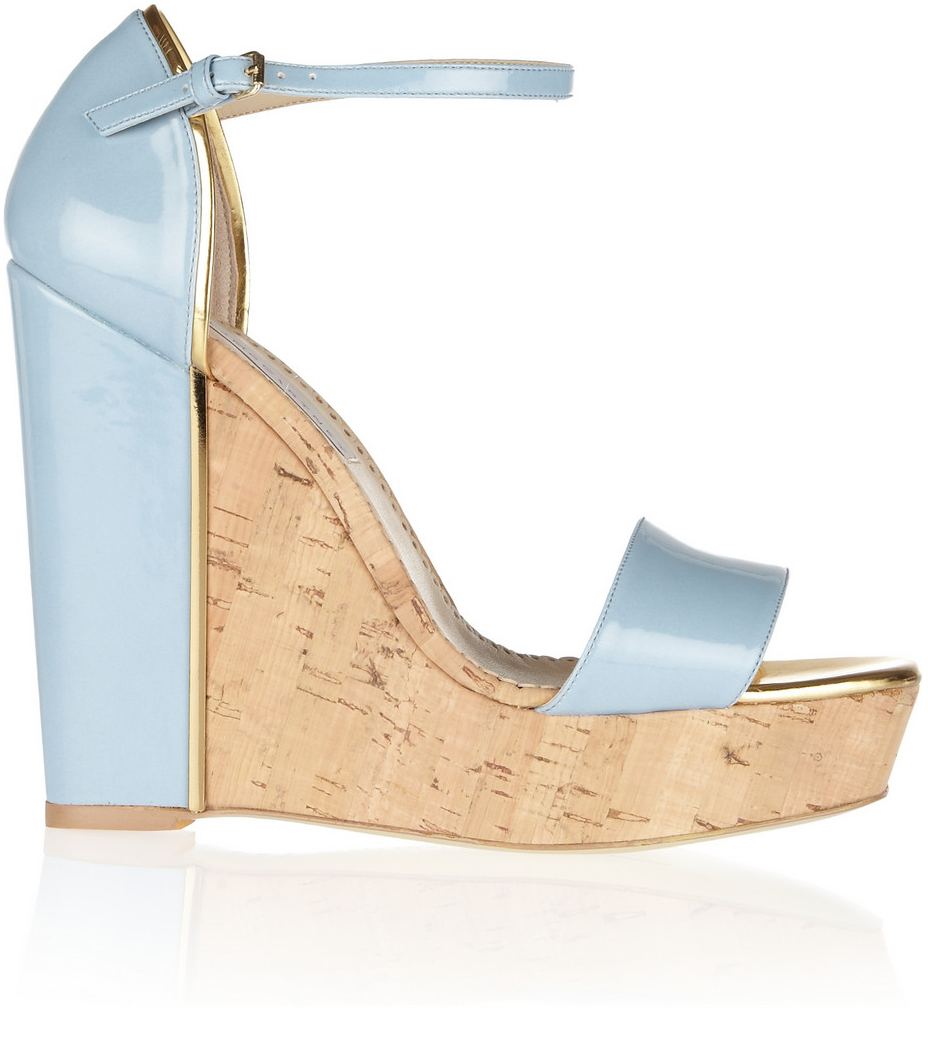 My Faves Journal Stella McCartney Faux Patent-Leather and Cork Wedge Sandals