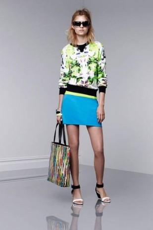 Sweatshirt, $29.99; Pencil Skirt, $29.99; Tote, $39.99; Bangles, $16.99 each; Wedge Sandals, $29.99
