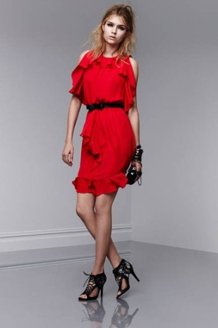 Ruffle Dress, $39.99; Lace Clutch, $34.99; Bangle, $16.99; Crystal Stone Cutout Bangle, $24.99 each; Crystal Stone Ring, $14.99; Lace-Up Pumps, $39.99
